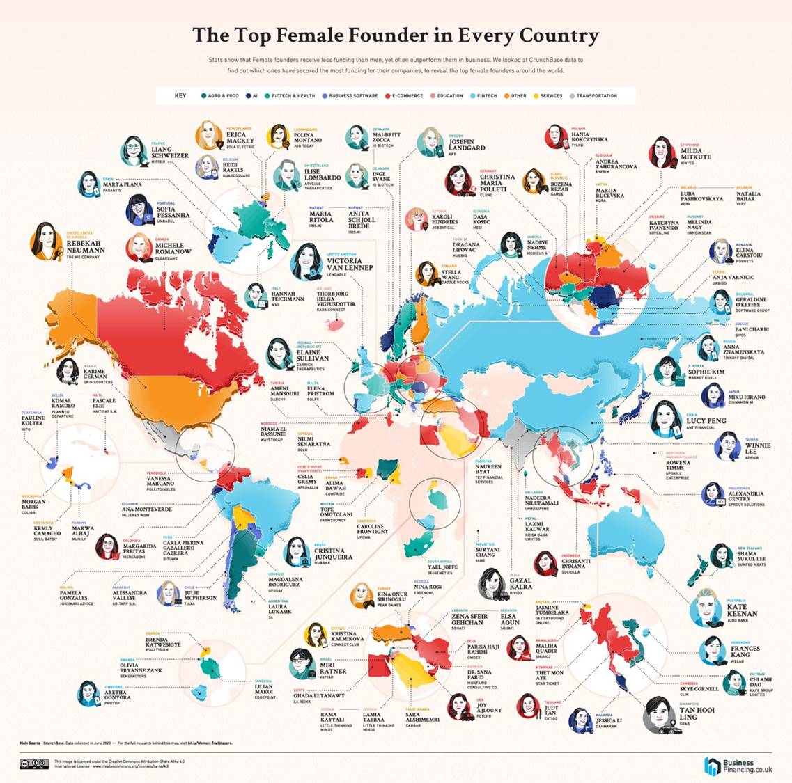 👩 Mapped: The Top Female Founder in Each Country